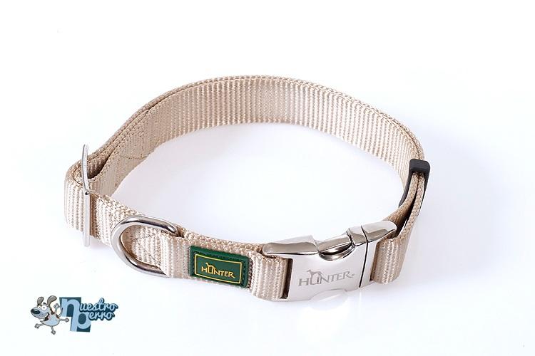 Collar Hunter Para Perro Con Hebilla Metálica Beige