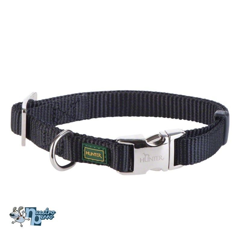 Collar Hunter De Nylon Para Perro Con Hebilla Metálica Color Negro